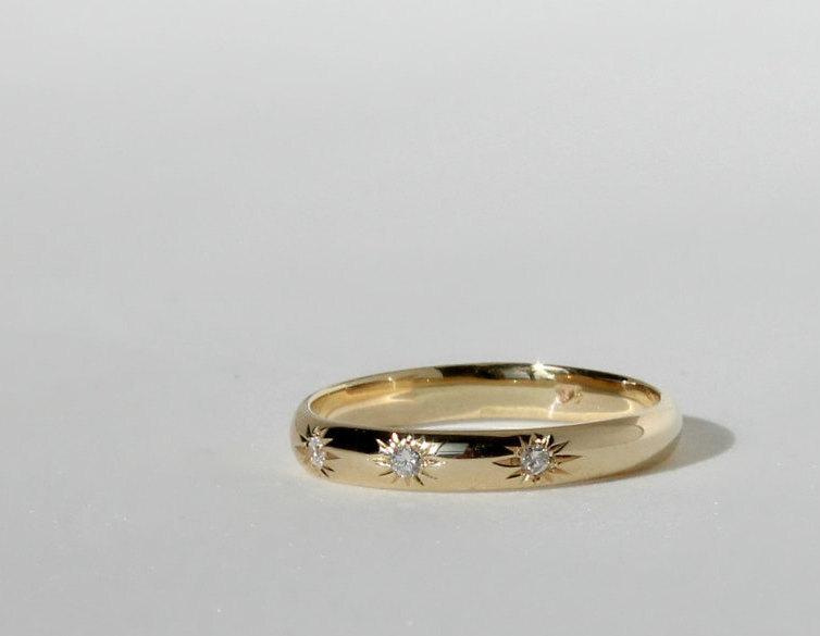 Three Diamonds Gold Ring Three Stones Ring Simple Wedding Ring