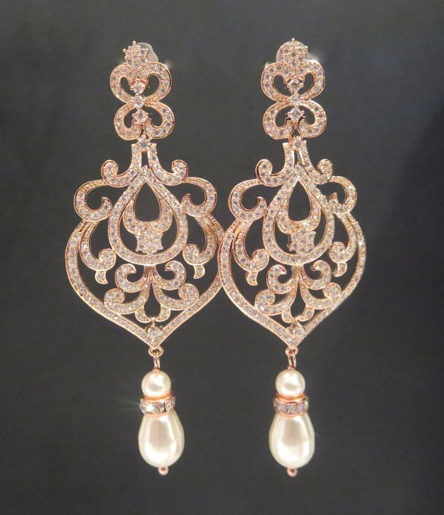 Rose Gold Bridal Jewelry Wedding Earrings Chandelier Pearl Crystal Amelia