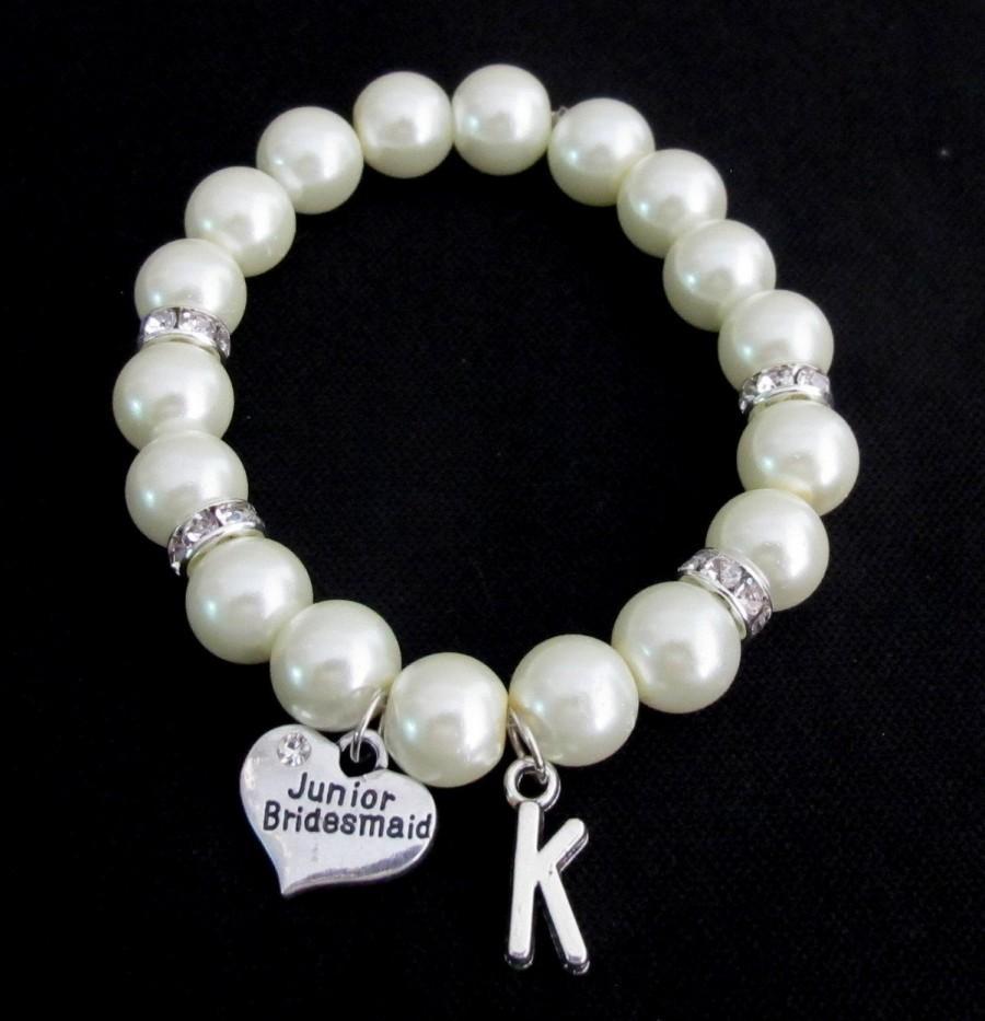 Свадьба - Junior Bridesmaid Bracelet, Pearl Bracelet Junior Bridesmaid Gift - Junior Bridesmaid Bracelet - Mini Bride Bracelet Free Shippin in USA