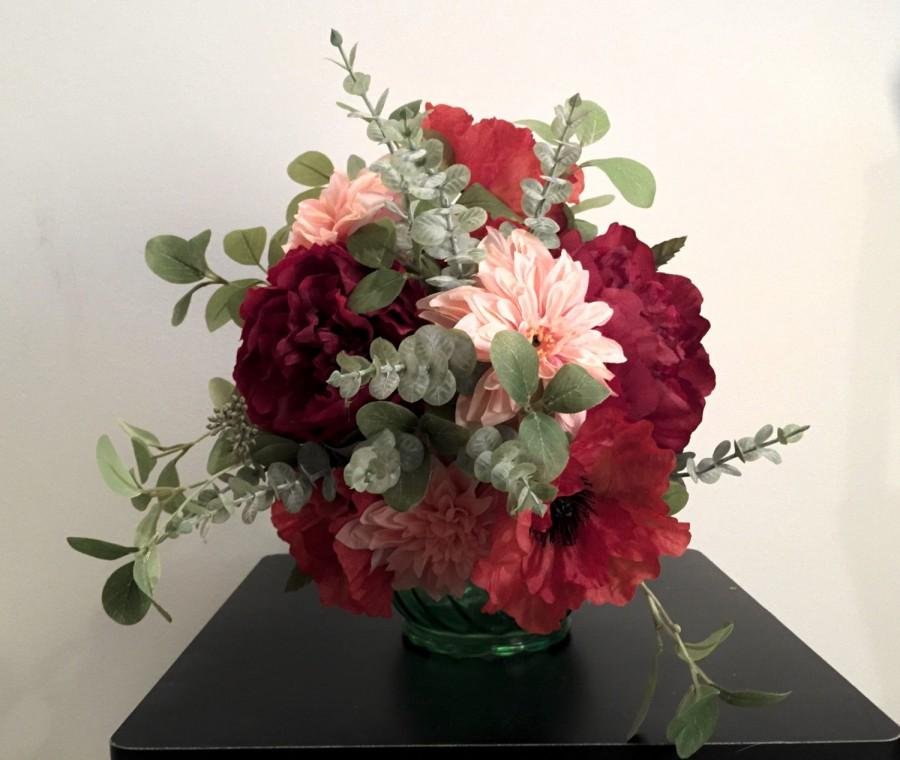 Hochzeit - Gorgeous Red and Coral Bohemian Bridal Bouquet
