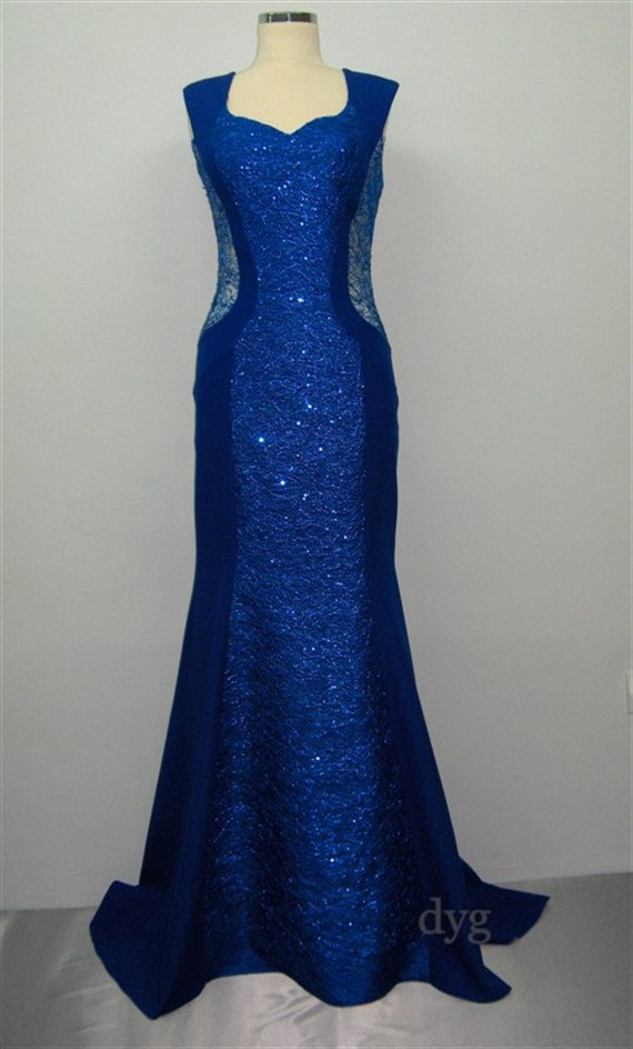 Mariage - Long Sequin Lace Wedding dress,Blue Sequin Lace Evening dress,Open Back dress,Long Formal dress,Mother of the Bride dress,Long Prom Dress
