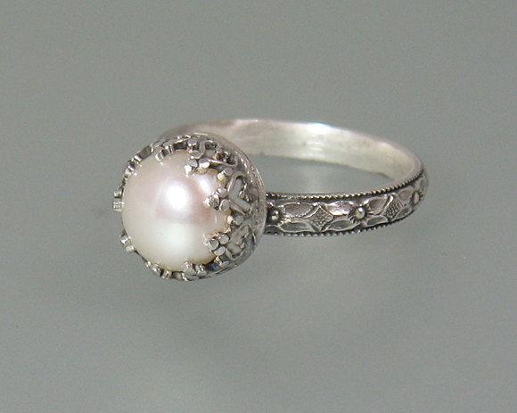 Pearl Engagement Ring Sterling Silver Vintage Style Tail June Birthstone Nontraditional