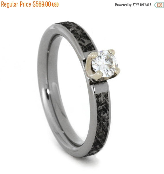 Mariage - Wedding Sale Moissanite Ring in 14k White Gold Setting with Titanium, Mimetic Meteorite Band