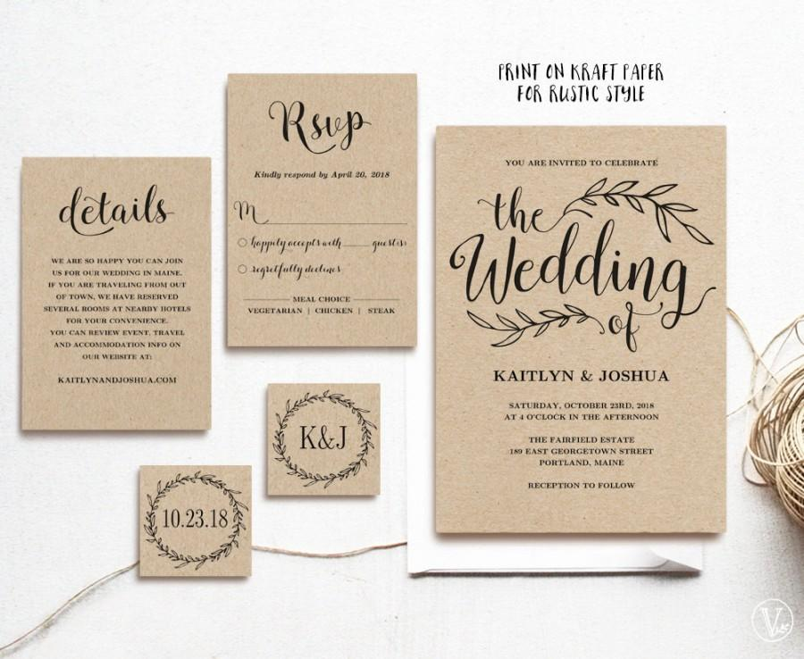 vintage wedding invitation printable wedding invitations kraft wedding invitation 5 piece suite editable text instant download - Wedding Invitation Details Card