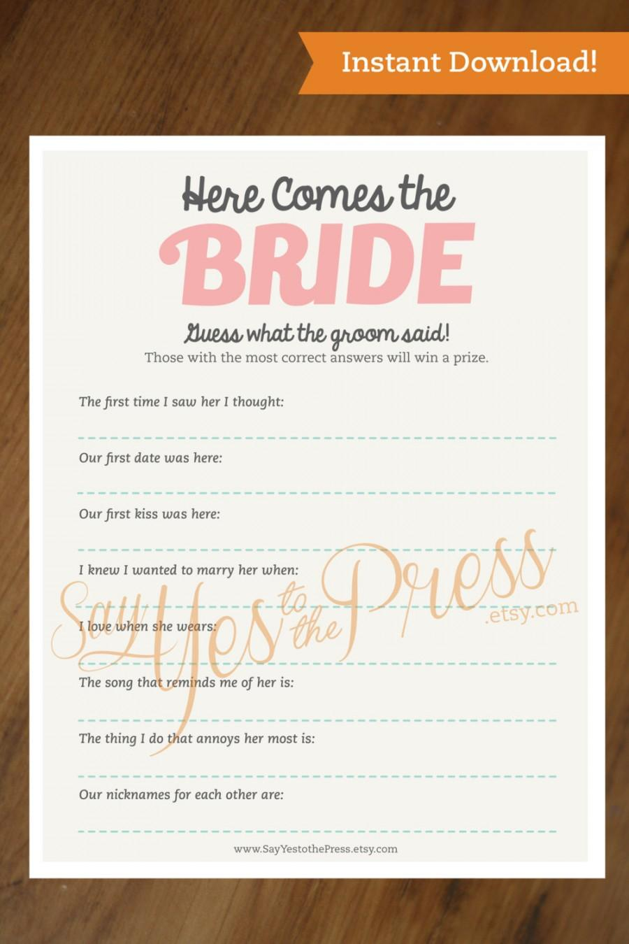 Mariage - HERE COMES the BRIDE Instant Download Bridal Shower Game