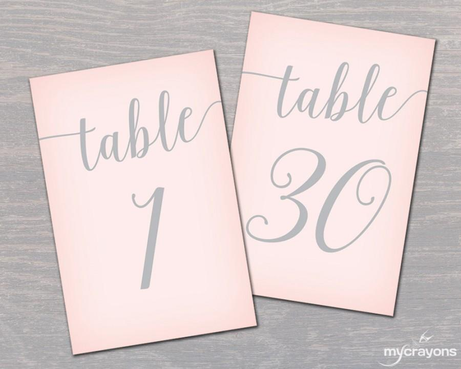 pink and silver wedding table numbers 1 30 printable wedding