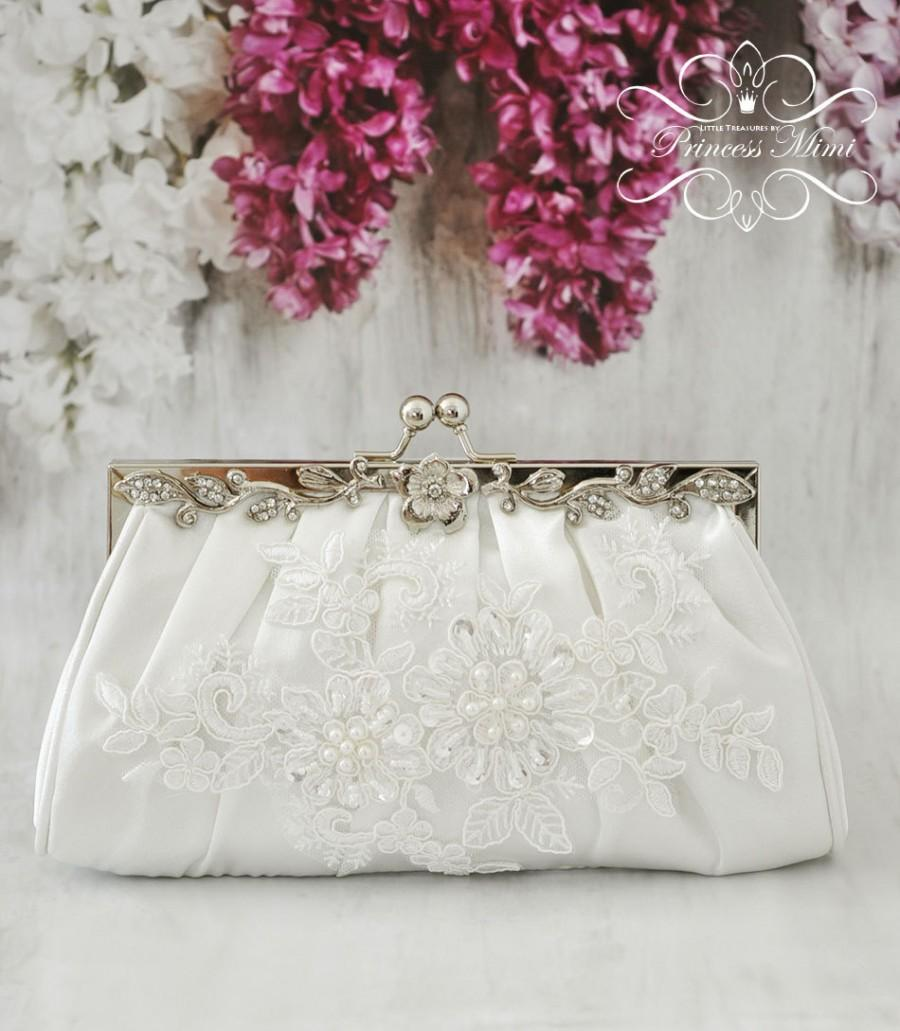 Mariage - Ivory Bridal  Purse Bag Clutch with Crystals and Pearls, Beade Lace