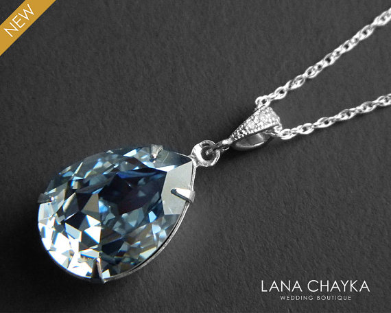 Wedding - Blue Grey Crystal Necklace Blue Shade Sterling Silver Necklace Swarovski Rhinestone Teardrop Necklace Wedding Blue Jewelry Bridal Jewelry