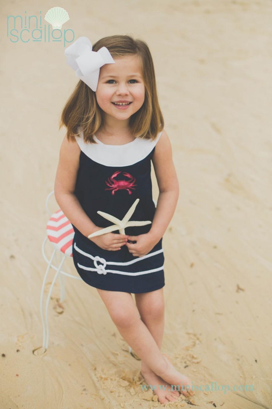 Child Girls Toddler Nautical Navy Crab Shift Dress, Nautical Dress ...