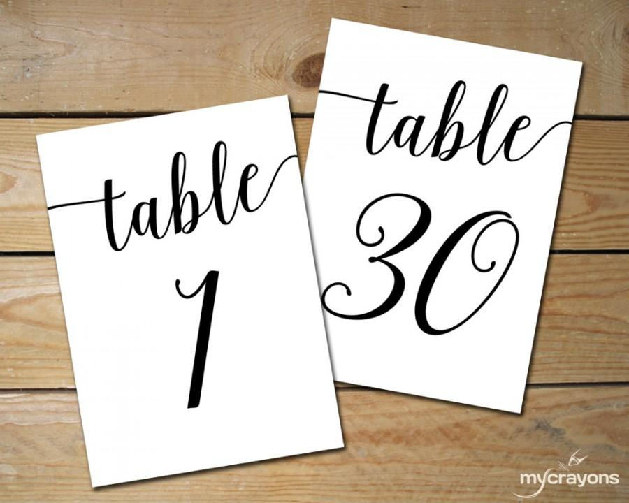 Instant download printable table numbers 1 30 black for Table numbers