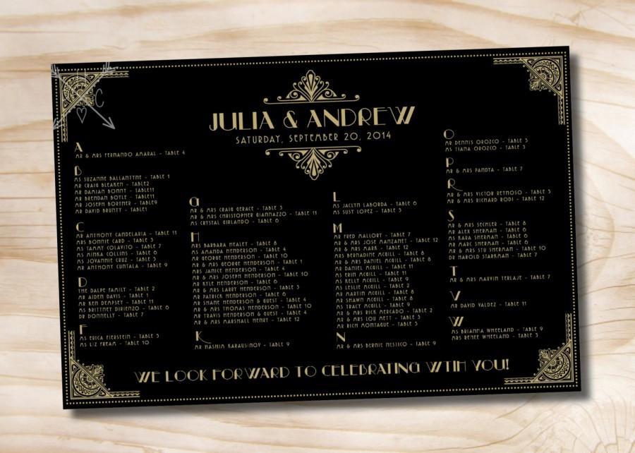 Hochzeit - ART DECO GATSBY Wedding Seating Chart - Printable