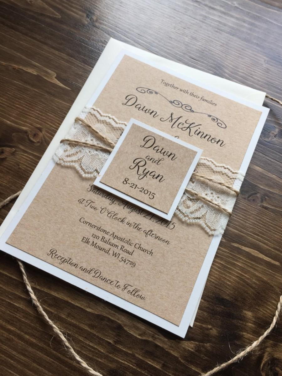 rustic wedding invitation, vintage wedding invitation, lace, Wedding invitations