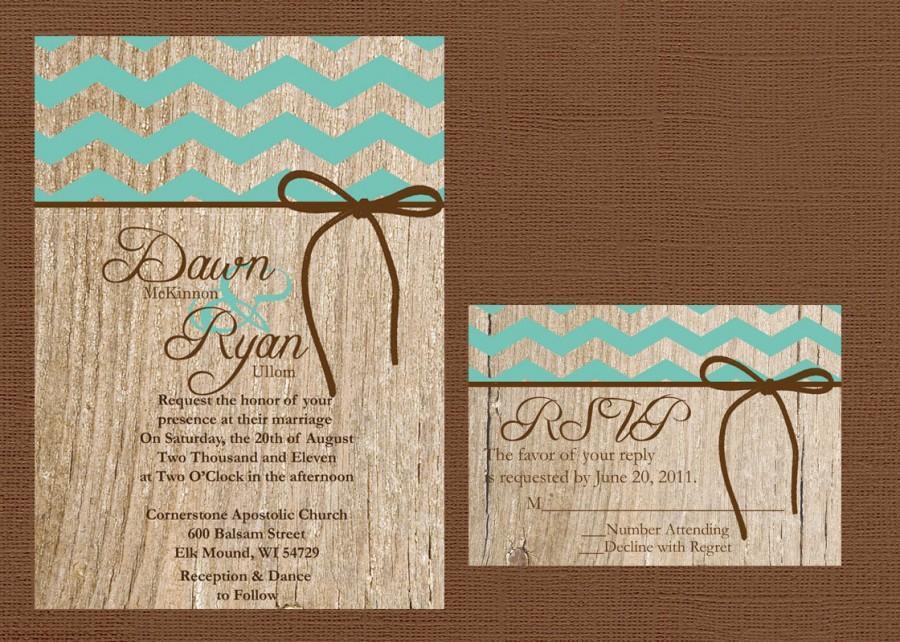 Rustic Western Wedding Invitations: Chevron Wedding Invitation, Rustic Wedding Invitation