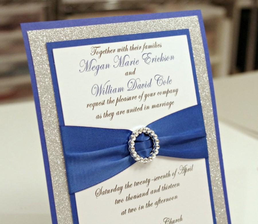 Hochzeit - Stunning DIY Royal Blue & Silver Glitter Wedding Invitation Full of Bling, Sparkle, and Dazzle