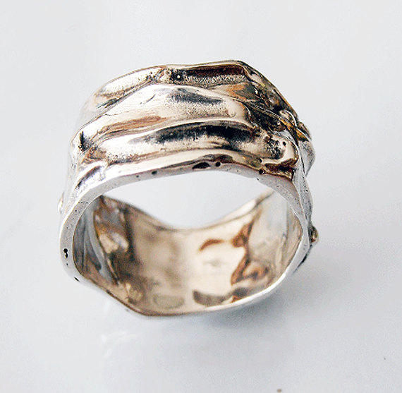 Mariage - Sterling Silver Wide Band, Sterling Silver Ring, Silver Thumb Ring, Unisex Ring. Israeli Jewelry mens wedding band.
