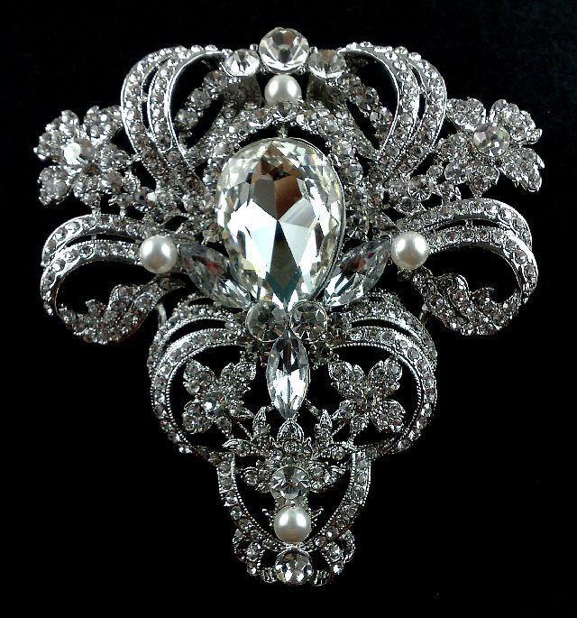 Mariage - Victorian Bridal Broach, Statement Brooch, Rhinestone Dress Jewelry, Vintage Style Wedding , VICTORIA