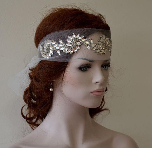 Свадьба - Bridal  Headband, wedding Rhinestone Headband, wedding Veil, Bridal Veil, Wedding Hair Accessory,  Bridal Hair Accessories