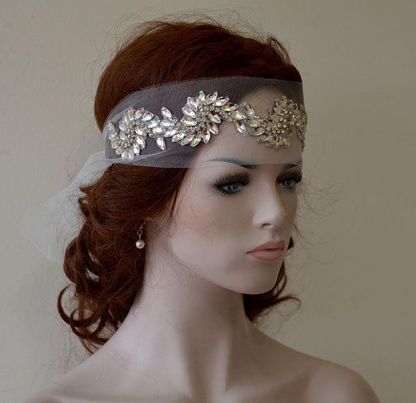 Enjoyable Bridal Headband Wedding Rhinestone Headband Wedding Veil Bridal Short Hairstyles For Black Women Fulllsitofus