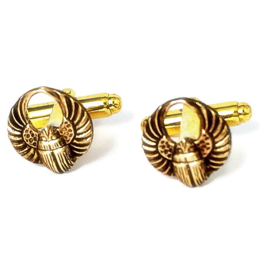 Mariage - SALE Men's Brass Egyptian Scarab Cufflinks, Handcrafted Winged Beetle Insect Rebirth Sun Symbol Cuff Links- Prom Wedding Groom Gift