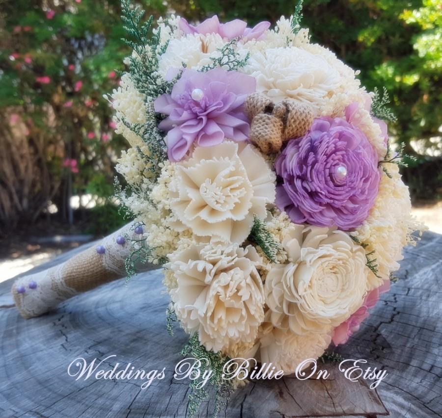 Hochzeit - Sola Bouquet, Lavender Sola Bouquet,Burlap Lace, Purple Bouquet, Alternative Bouquet, Bridal Accessories, Keepsake Bouquet, Wedding Bouquet