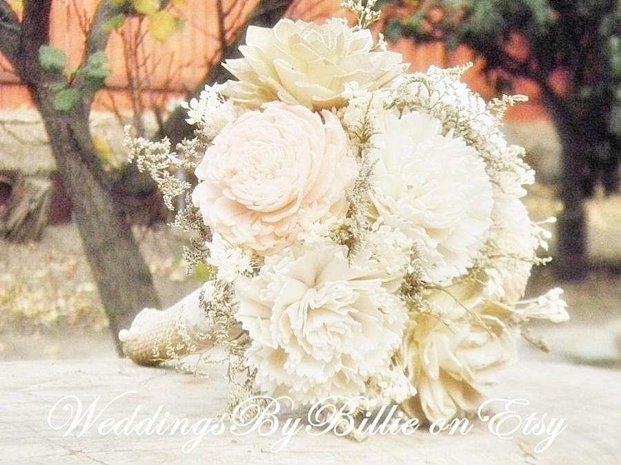 Hochzeit - Blush Champagne Ivory Sola Bouquet, Blush Wedding, Champagne Wedding, Alternative Bouquet, Rustic Shabby Chic, Bridal Accessories, Sola