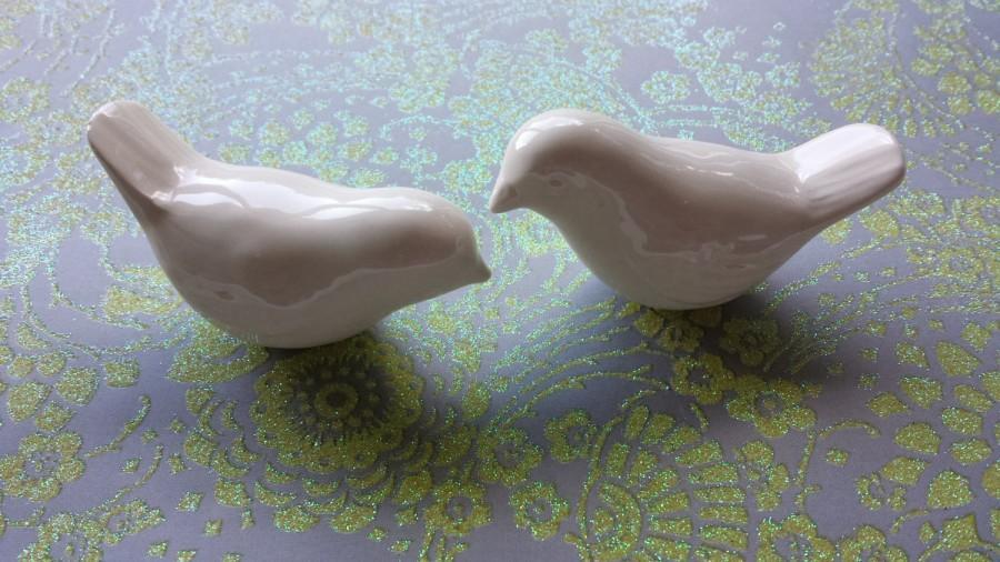 Hochzeit - Wedding Cake Topper  Ceramic White Love Birds Ceramic Elegant Vintage