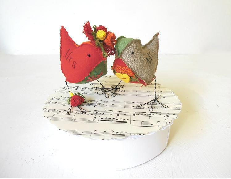 Wedding - SALE Wedding Cake Topper Love Birds soft sculptures Mr&Mrs Rustic Woodland  Ready to ship