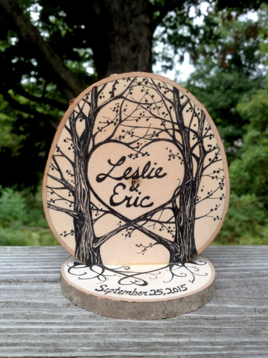 Mariage - Woodland Cake Topper for your nature inspired Wedding, two trees with heart, original ink drawing, wood grain, roots