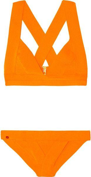 Düğün - Hervé Léger Bandage Triangle Bikini In Orange