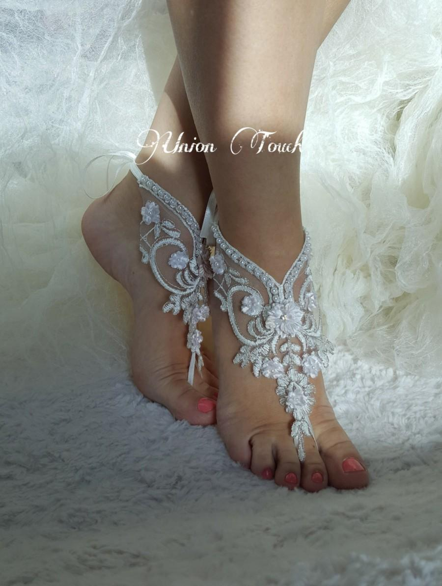 c3f1f3150 Original Design Free Ship White Black or ivory Champagne wedding barefoot  sandals