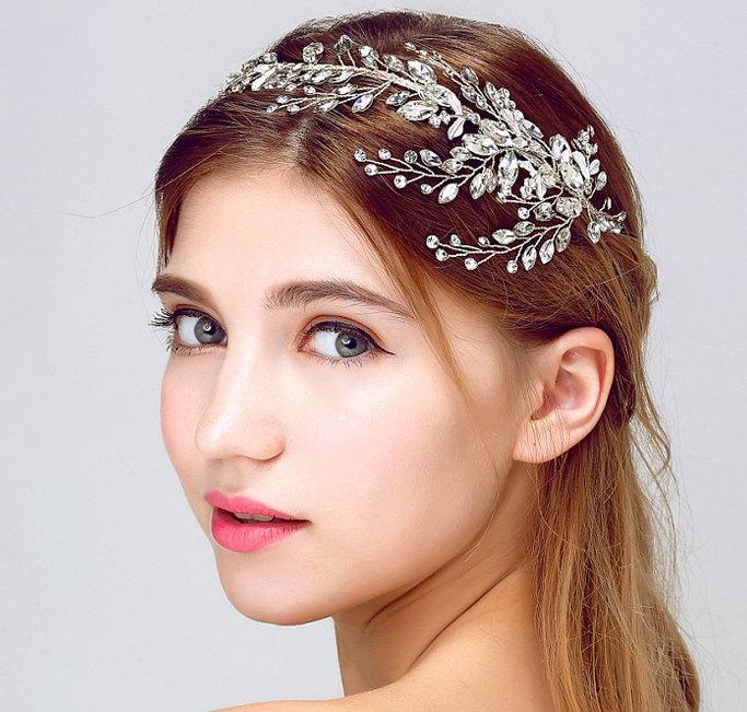 Свадьба - Bridal wedding flower grecian Silver headpiece, Gatsby flapper Bride vine headband,Bohemian crystal rhinestone leaf hair crown Halo tiara