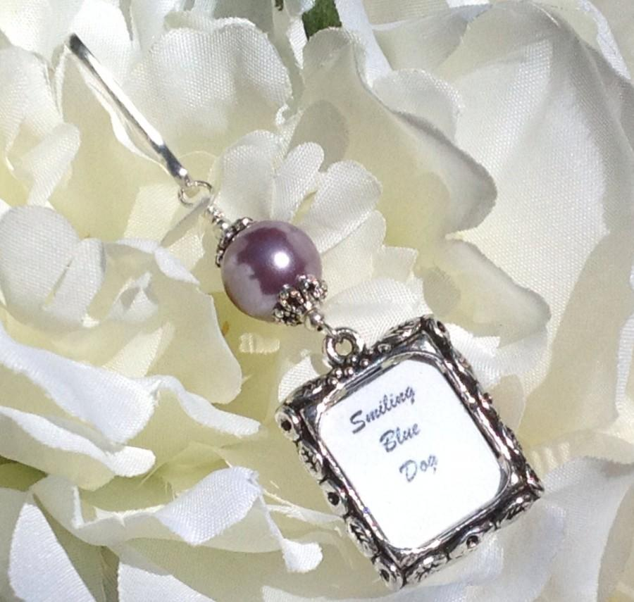 Свадьба - Wedding bouquet photo charm. Purple pearl Memorial picture charm. Wedding keepsake. Bride's bouquet photo charm. Gift for the bride to be