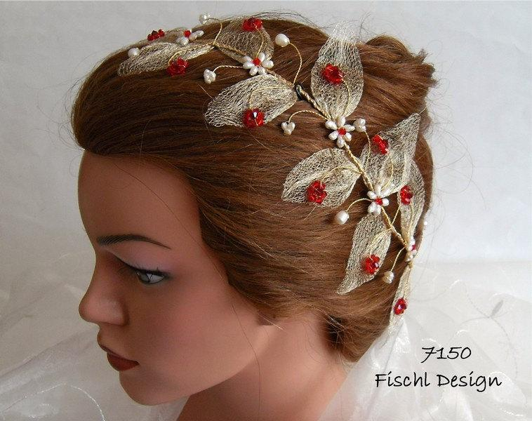 Hochzeit - Wedding tiara diadem blossom leaves filigree wire pearls gold red ivory white 7150