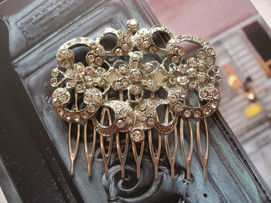 Mariage - Victorian feminine Swarovski rhinestones crystals wedding bridal hair comb