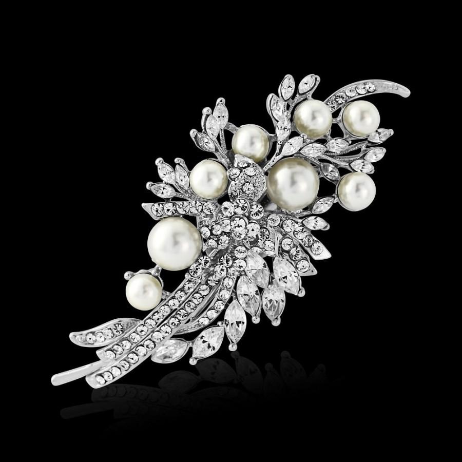 Mariage - Pearl hair clip wedding bridal crystal swirl leaf ivory pearl wedding hair accessories