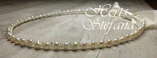 Mariage - Freshwater Pearl and Swarovski Crystal Stefana - Enchanted Dream
