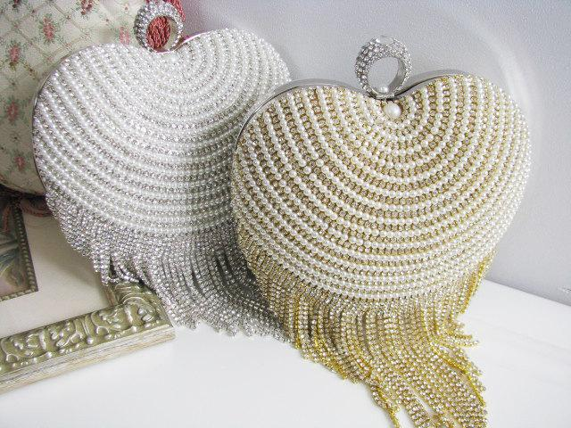 Wedding Bag Clutch Formal Evening With Faux Pearl And Loads Of Shimmy Sparkle Heart Shaped