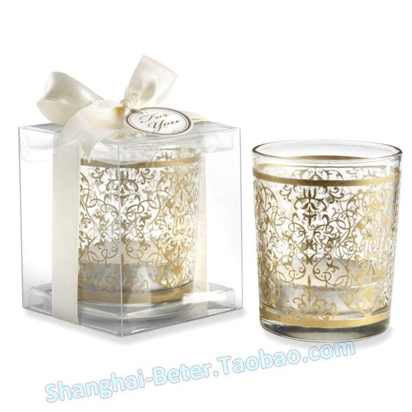 Wedding - Quinceanera Decoration LZ045 Gold Damask Glass candle Holder