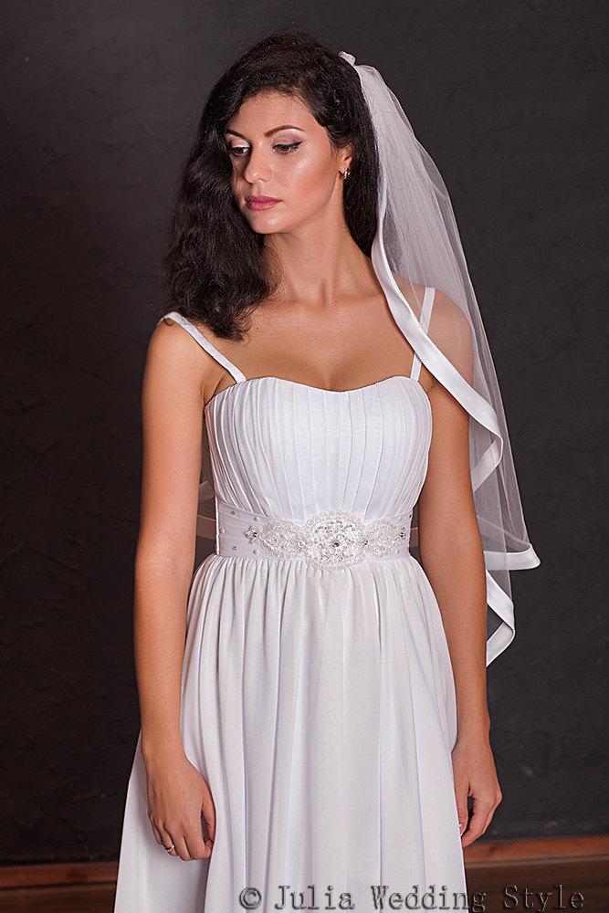 Wedding - Wedding Veil,Fingertip Wedding Veil,Ribbon Edge Veil,Wide Satin Ribbon,2 tier veil,white veil,white tulle veil,wedding veil lace trim,veils