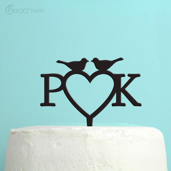Свадьба - Wedding Cake Topper - Personalized Love Birds Cake Topper -  Monogram Initials Cake Topper -  Custom Colors - Peachwik Cake Topper - PT28