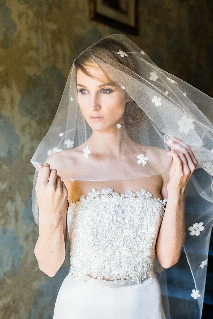 Mariage - Daisy, Bridal Drop Veil, Simple Veil, Bridal Chapel Veil, 2 Tier Fingertip Veil, Double Tier Veil, Veil With Blusher, Cathedral Drop Veil