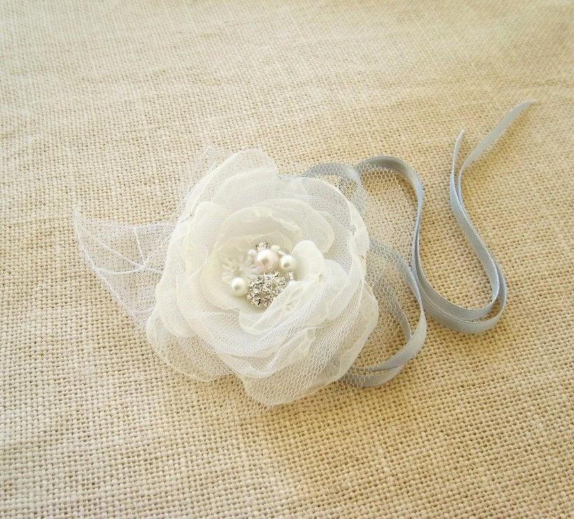 Mariage - Wrist Corsage Bridal Flower Bouquet Alternative White Organza Silver Tulle Prom Weddings Bridesmaid Bridal Accessories Fairytale Flower