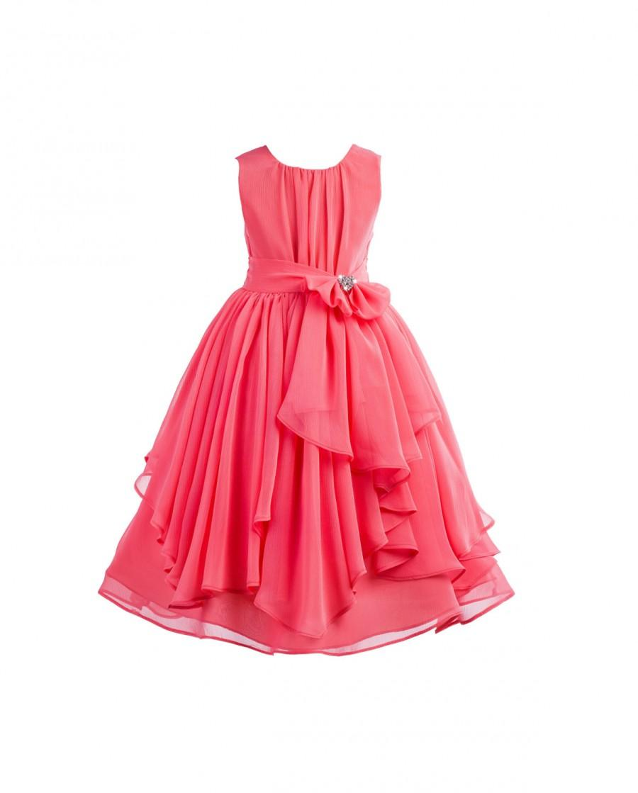Hochzeit - Elegant Coral Yoryu Chiffon ruched bodice rhinestone Flower girl dress wedding birthday princess bridesmaid toddler size 4 6 8 9 10 12