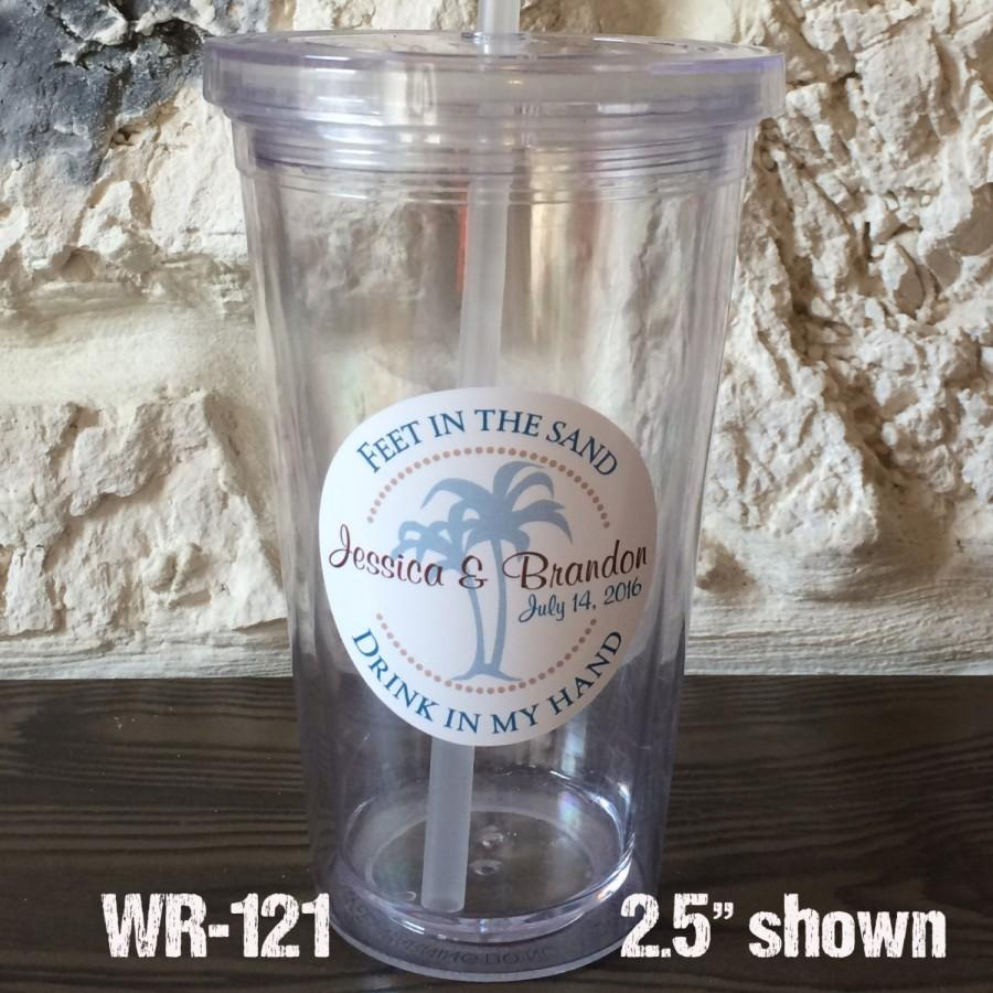 Свадьба - 48 - 2.5 inch Tumbler Waterproof Destination Wedding Stickers - hundreds of designs to choose, change colors or wording WR121