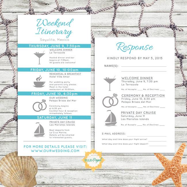 Simple And Modern Wedding Itinerary Card With RSVP Card