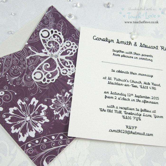 زفاف - Butterfly Handmade Square Wallet Wedding Invitation Purple & White
