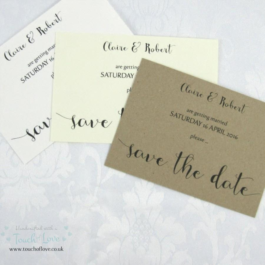 Mariage - Handmade Rustic Charm Wedding Save the Date, Kraft, Ivory or White
