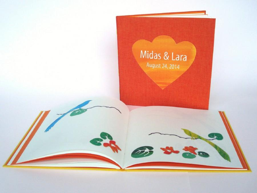 Mariage - Wedding Guestbook with Paper Cut Illustrations on Blank Pages. Personalized. Red Orange