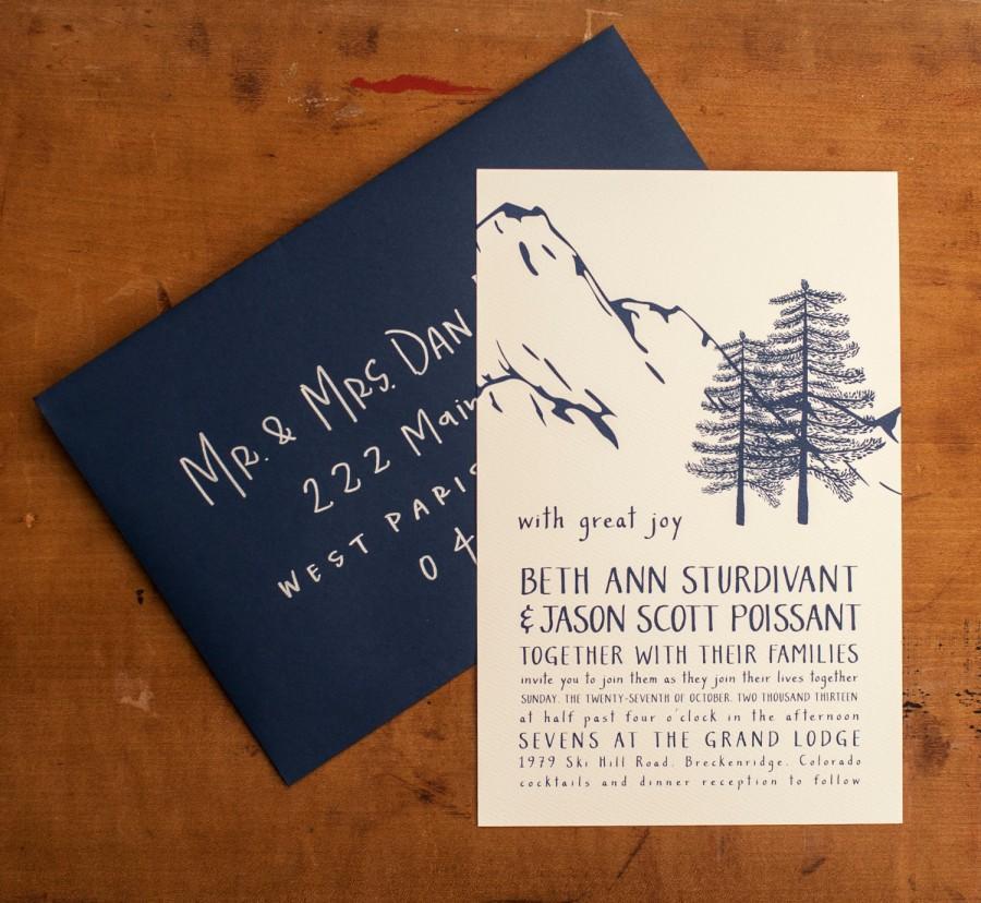 زفاف - Mountain Wedding Invitation, Rustic Wedding Invitation, Woodland Wedding Invitation Navy Wedding Invitation rustic trees - Winter Wonderland