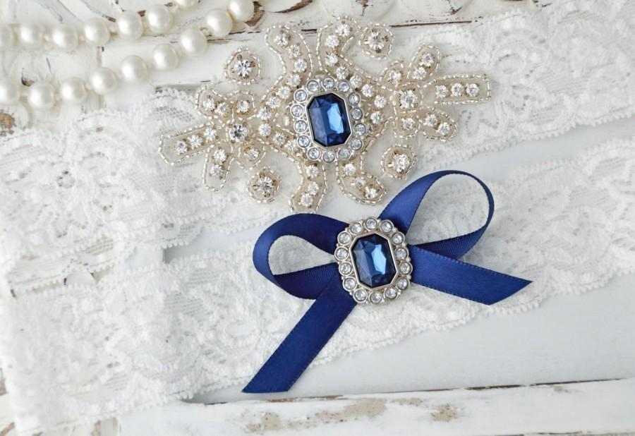 Свадьба - Navy Wedding Garter, Crystal Bridal Garter Set, Vintage Inspired Wedding Stretch Lace Garter, Bridal Garter, Garter